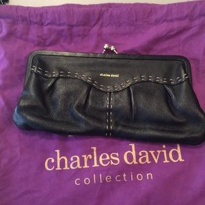 Charles David black leather clutch